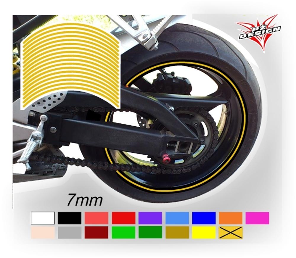 """Klasické proužky na ráfky kol, šíře 7 mm Barva: Žlutá tmavá, Velikost kola: 12"""" - 15"""""""