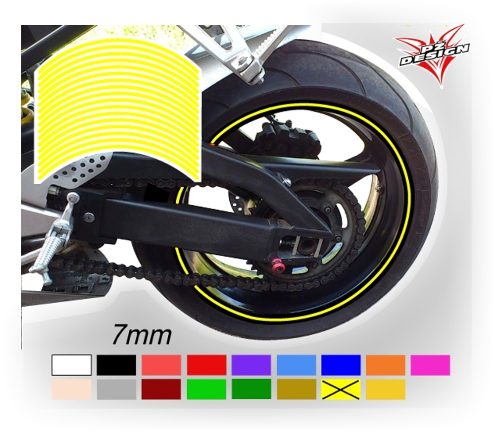 """Klasické proužky na ráfky kol, šíře 7 mm Barva: Žlutá světlá, Velikost kola: 12"""" - 15"""""""