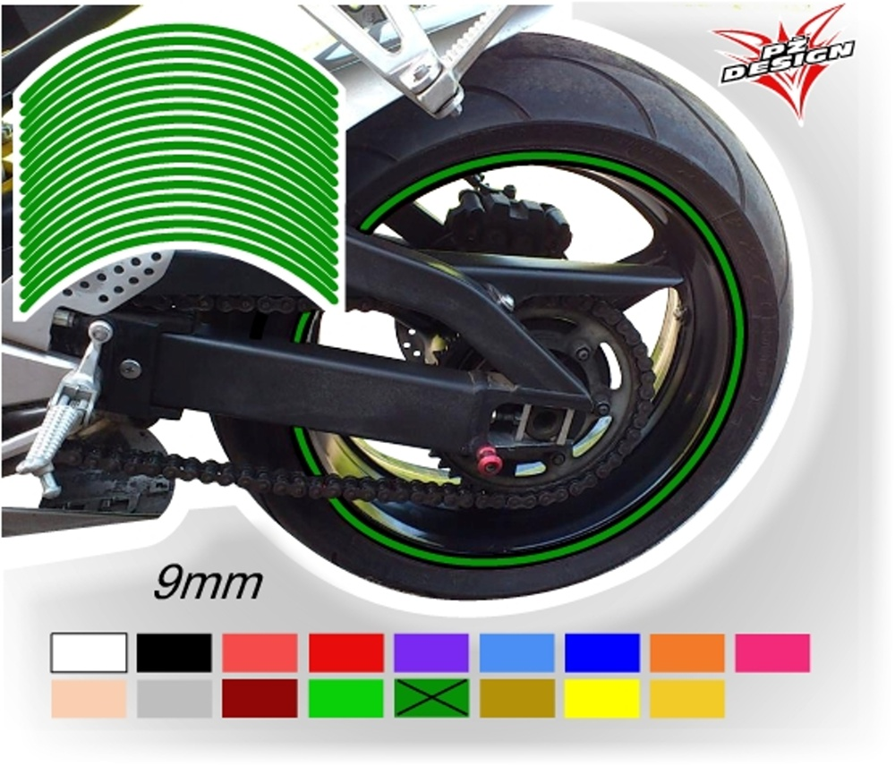 """Klasické proužky na ráfky kol, šíře 9 mm Barva: Zelená tmavá, Velikost kola: 12"""" - 13"""""""