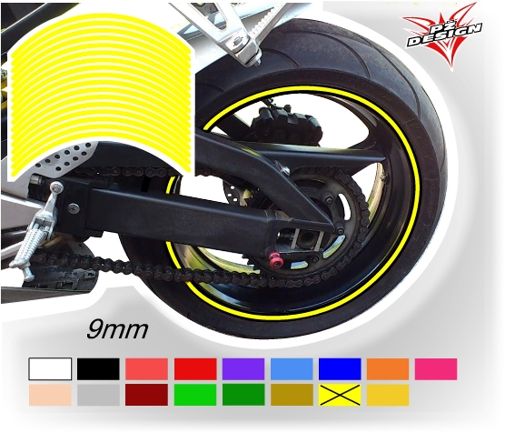"""Klasické proužky na ráfky kol, šíře 9 mm Barva: Žlutá světlá, Velikost kola: 12"""" - 13"""""""