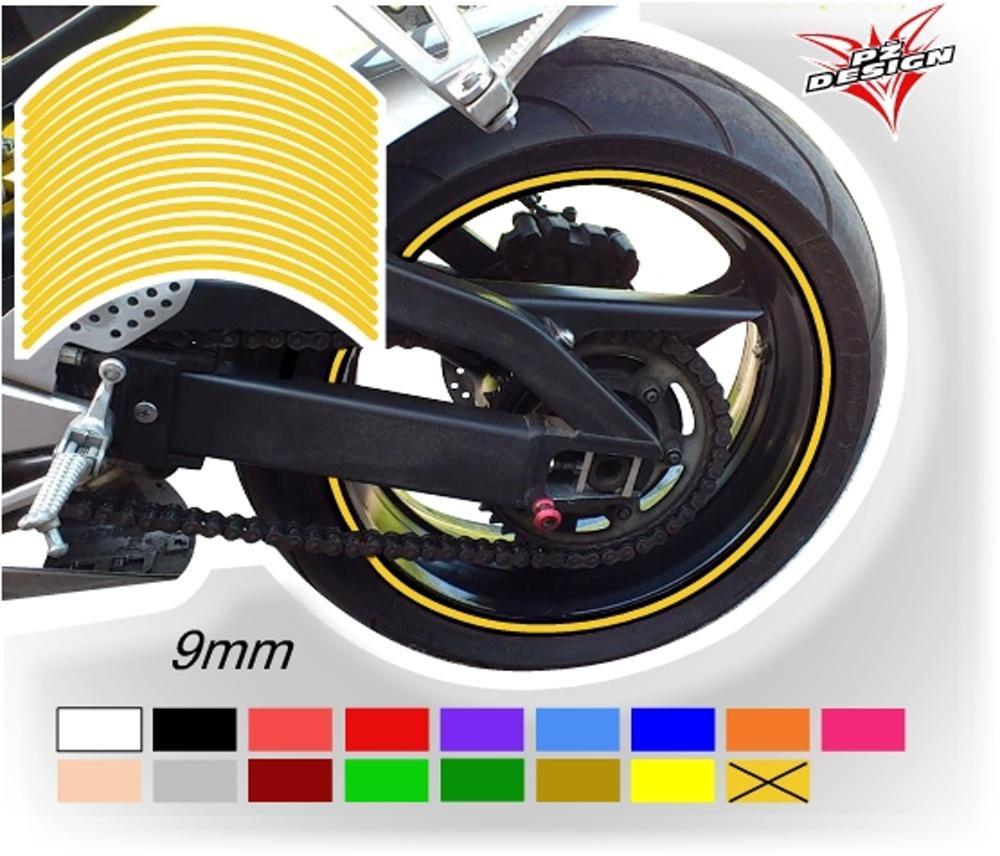 """Klasické proužky na ráfky kol, šíře 9 mm Barva: Žlutá tmavá, Velikost kola: 12"""" - 13"""""""