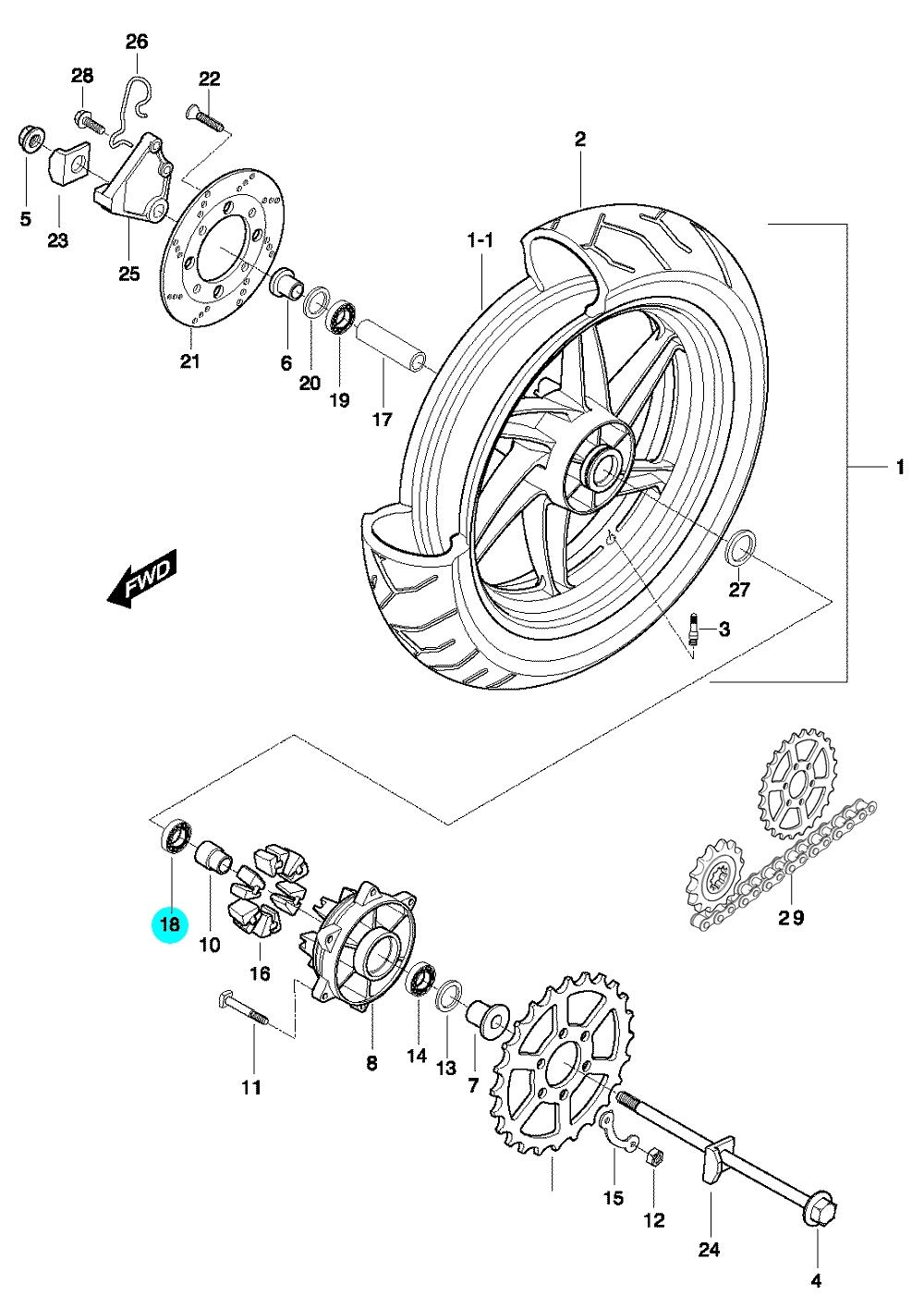 [18] Ložisko (zadní kolo) - Hyosung GT 650 N
