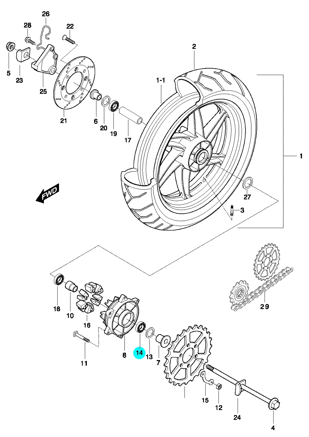 [14] Ložisko (zadní kolo) - Hyosung GT 650 N