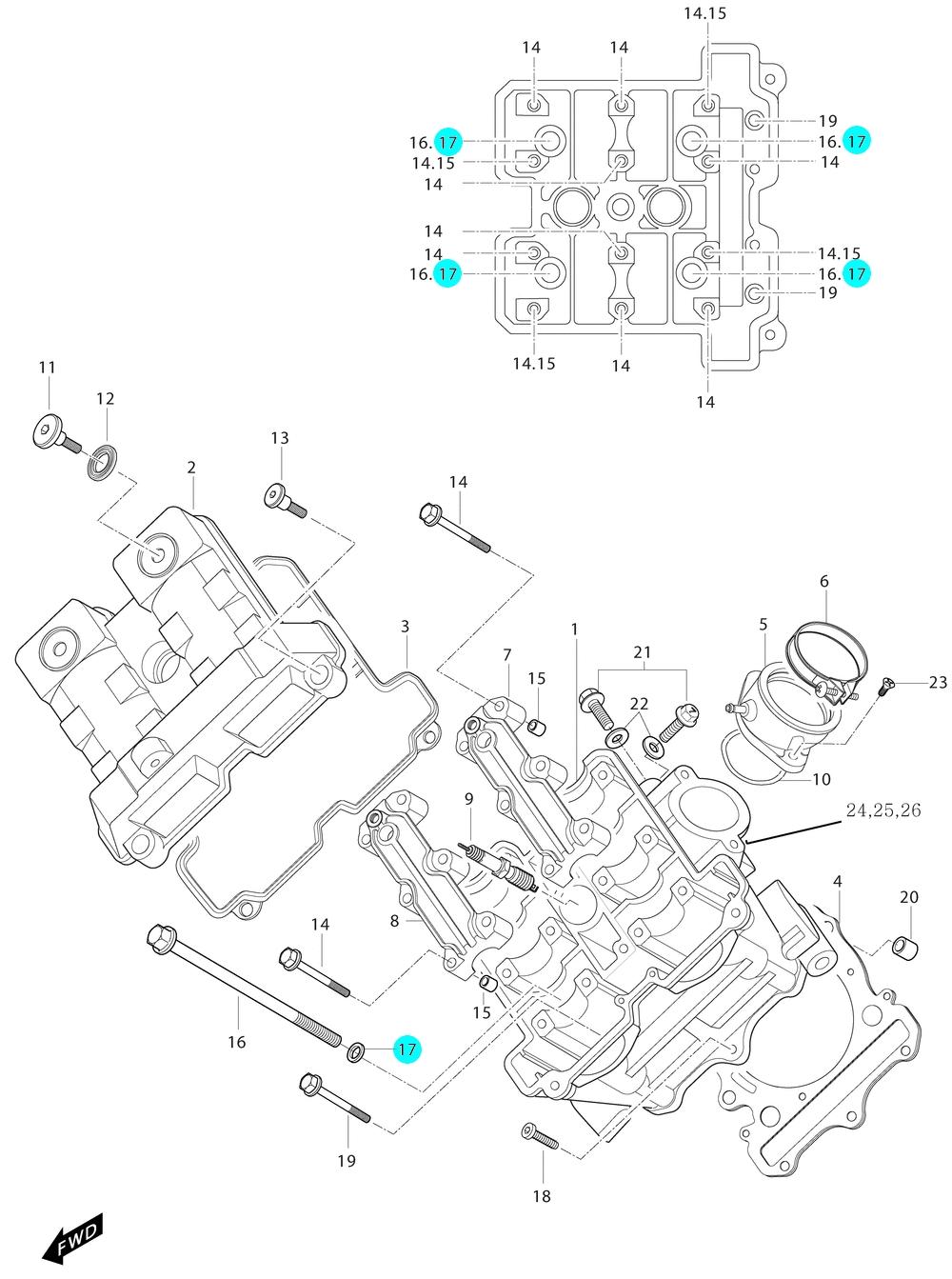 [17] Podložka (hlava předního válce) - Hyosung GT 650i P (FI Delphi)