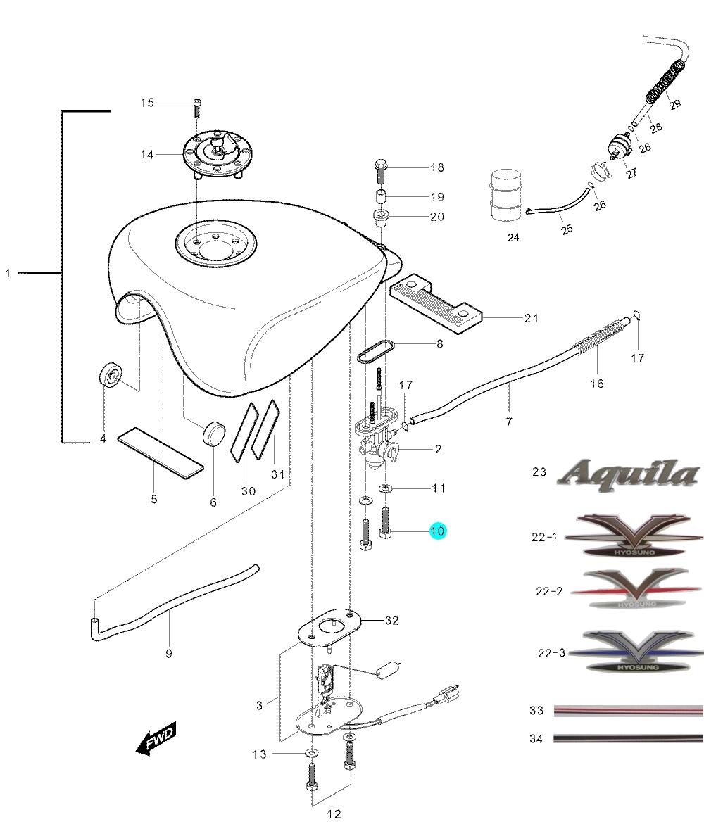 [10] Šroub (palivová nádrž) - Hyosung GV 250