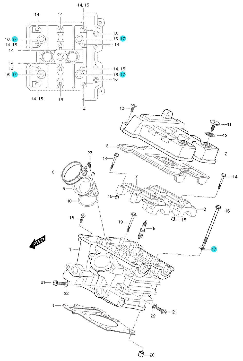 [17] Podložka (hlava zadního válce) - Hyosung GT 650 S & R