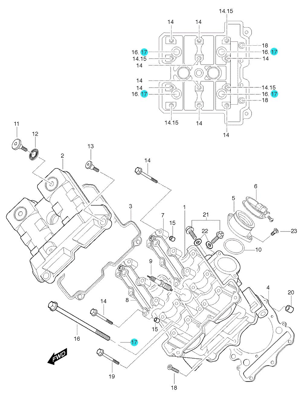 [17] Podložka (hlava předního válce) - Hyosung GT 650 S & R
