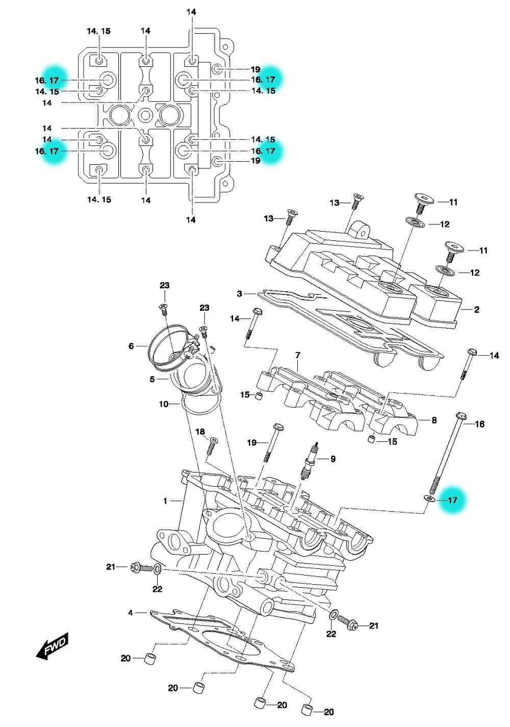[17] Podložka (hlava zadního válce) - Hyosung GT 650 N