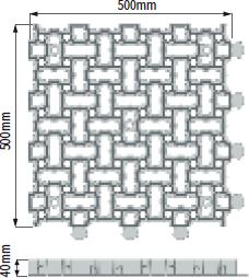 Zatravňovací tvárnice Onduline Puzzle - rozměry