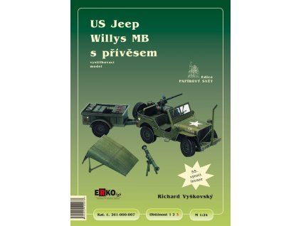 Papírový model vojenského automobilu US Jeep Willys MB s přívěsem