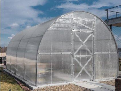 Zahradní skleník z polykarbonátu Trjoska 4 m  + Automatický otvírač oken + Kompletní sada těsnění + Spirálové tyče na rajčata (set 5 ks)