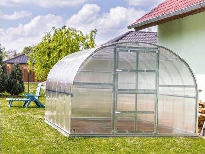 Zahradní skleník z polykarbonátu Gardentec Classic 4 m  + Kompletní sada těsnění + Spirálové tyče na rajčata (set 5 ks)