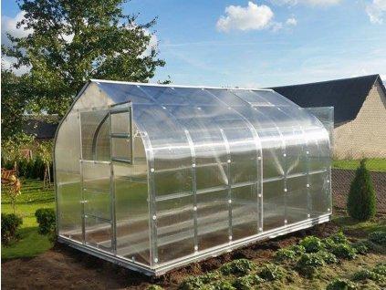 Zahradní skleník z polykarbonátu Gardentec Standard 4 m  + Komplet 2 střešních oken s automatickými otvírači + Sada těsnění + 5 ks spirálových tyčí na rajčata
