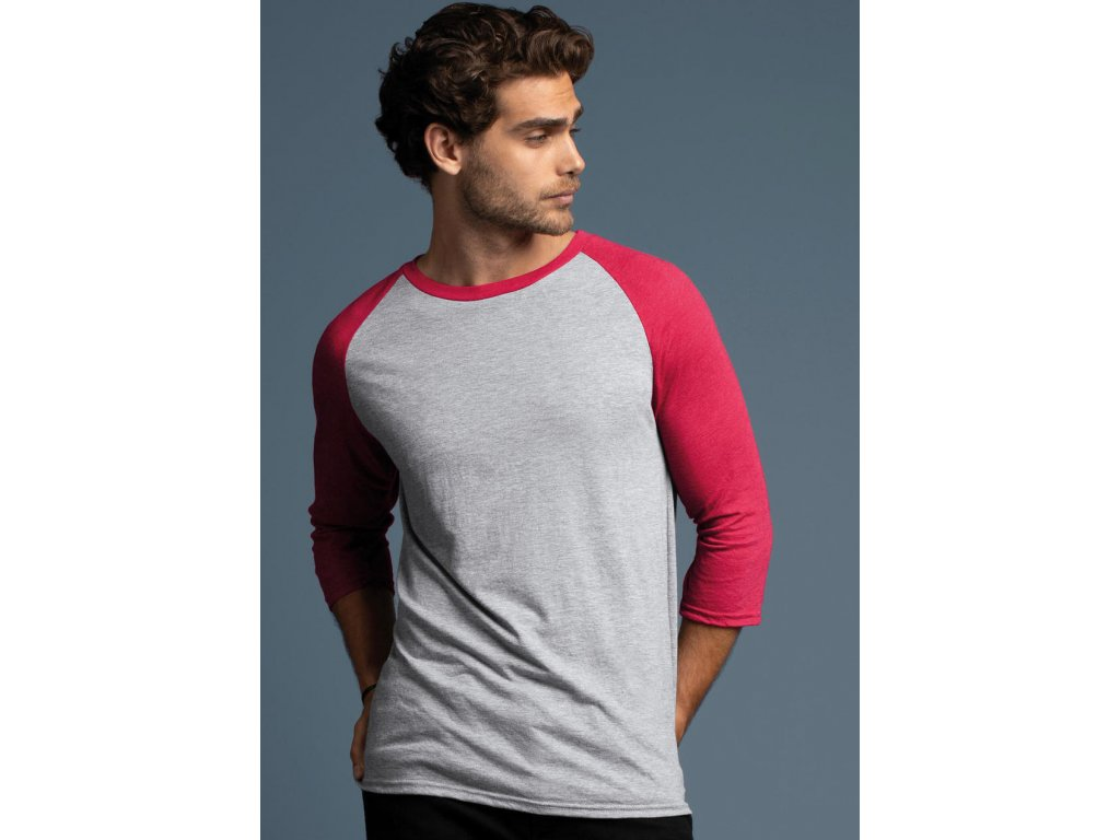 Pánske tričko Tri-Blend s 3/4 raglanovými rukávmi