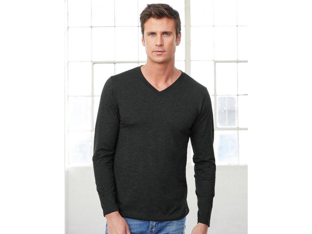 Unisex tričko s dlhými rukávmi V-neck