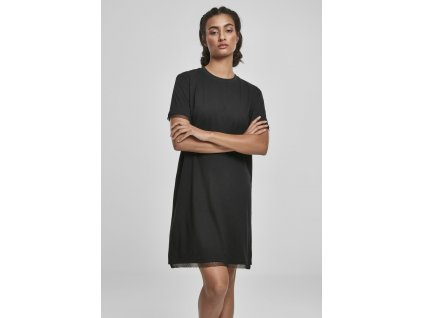 Dámske čierne mini šaty Ladies Boxy Lace Hem Tee Dress