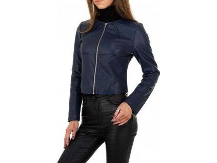 Dámska koženková bunda modrá