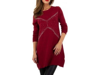 Dámsky dlhý pulóver červený