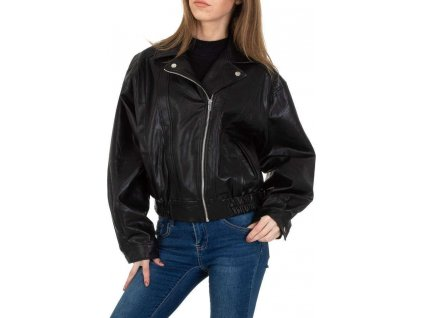 Dámska koženková bunda čierna
