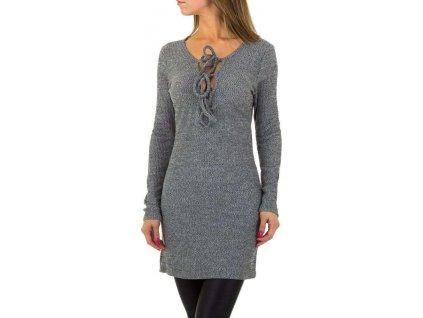 Dámske pulóvrové šaty šedé