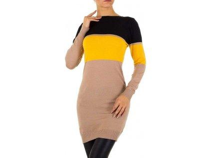 Dámske pulóvrové šaty žlté