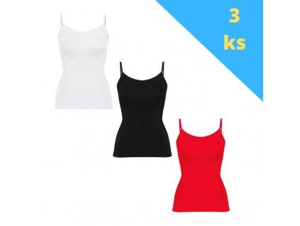 Balík 3ks dámskych tričiek na ramienka, mix farieb