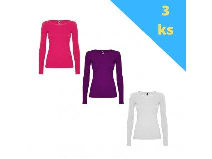 Balík 3ks dámskych tričiek s dlhým rukávom, mix farieb