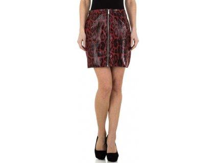 Dámska koženková sukňa červená