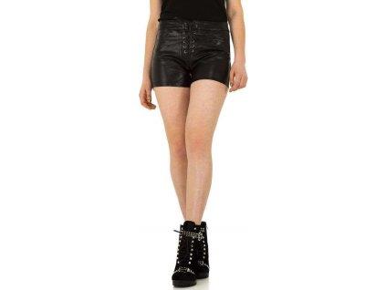 Dámske koženkové šortky čierne
