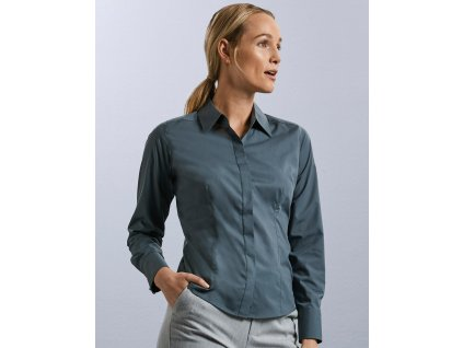 Dámska košeľa s dlhými rukávmi, čierna, veľkosť 4XL