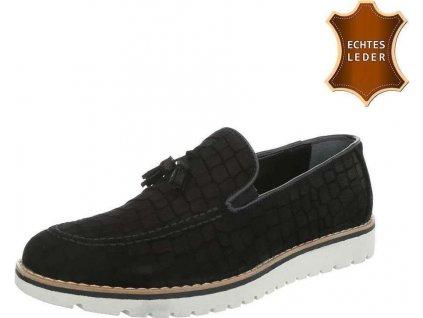 Pánske kožené topánky čierne S12