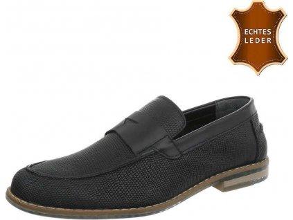 Pánske kožené topánky čierne S01