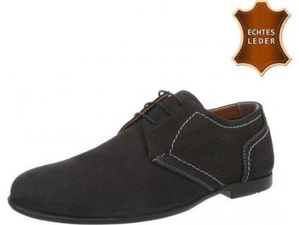 Pánske kožené topánky čierne S24