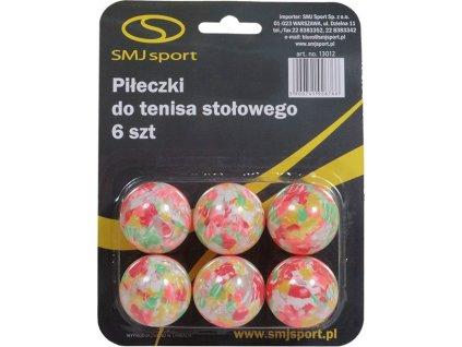 Loptičky na stolný tenis Smj 6 kusov farebné 13012