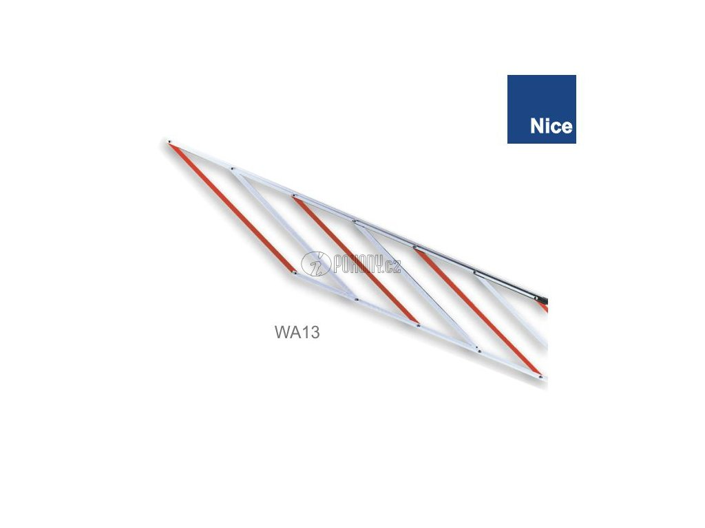 NICE WA13 - Hliníková záclonka pro ramena WA1/21/22, XBA5, XBA14, XBA15 a XBA19, délka 2 m