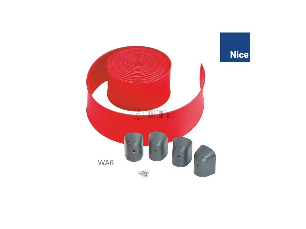 NICE WA6 - Ochranná červená guma 12m s koncovými zátkami