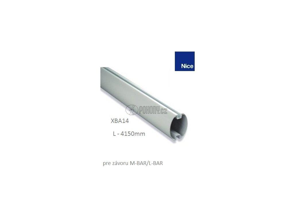 NICE XBA14 - Hliníkové oválné rameno bíle 69 x 92 x 4150 mm pro závora M-BAR/L-BAR a WIDEL
