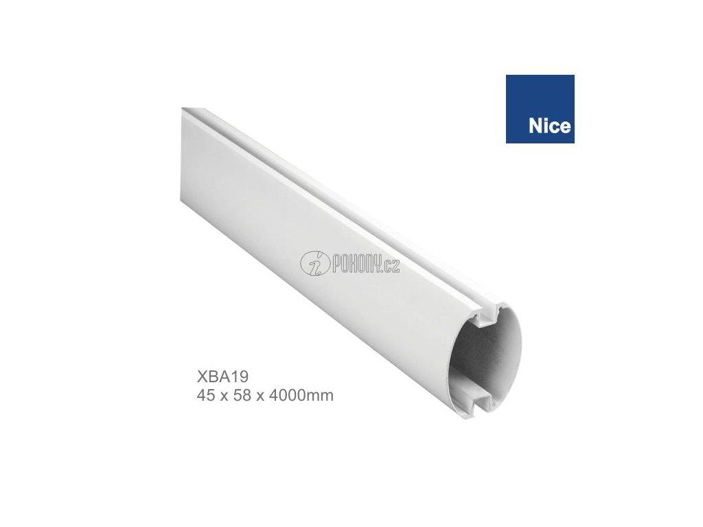 NICE XBA19 - Bílé hliníkové oválné rameno 45 x 58 x 4000 mm pro závora S-BAR, WIDES a WIDEM
