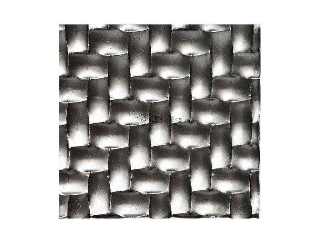 Černý lisovaný plech 2000 x 1000 x 1,2 mm s 3D efektem pletenina