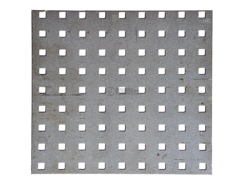 Děrovaný plech čtvercový řadový Zn, otvor: 10x10 mm, rozteč: 30 mm