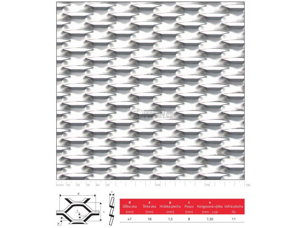 Tahokov Zn šestihranné oko: 47x18 mm, můstek: 8 mm