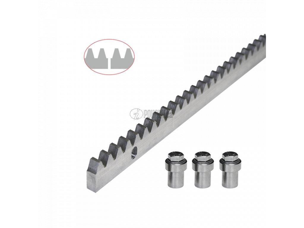 Ocelový zinkovaný hřeben 30 x 10 mm, 3x úchyt + šrouby, 1000 mm