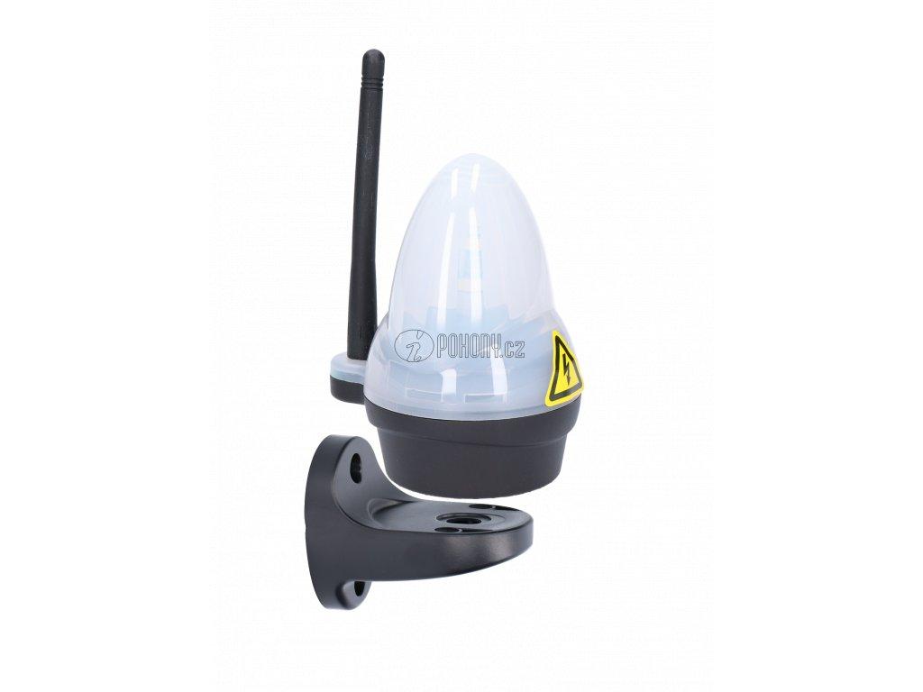 Bílý výstražný LED maják s anténou, 12/24/230V, AC/DC