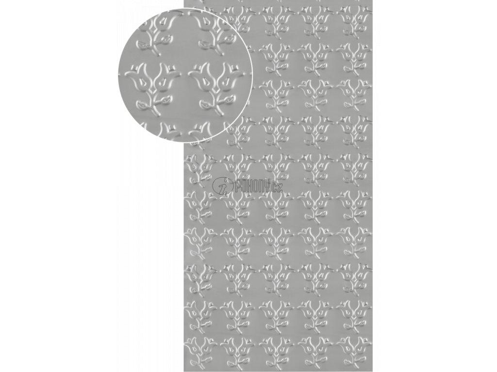 Plech pozinkovaný 2000 x 1000 x 1,2 mm, lisovaný vzor KVĚT 1, 3D efekt. Skutečný rozměr 1990 x 950 x 1,2 mm