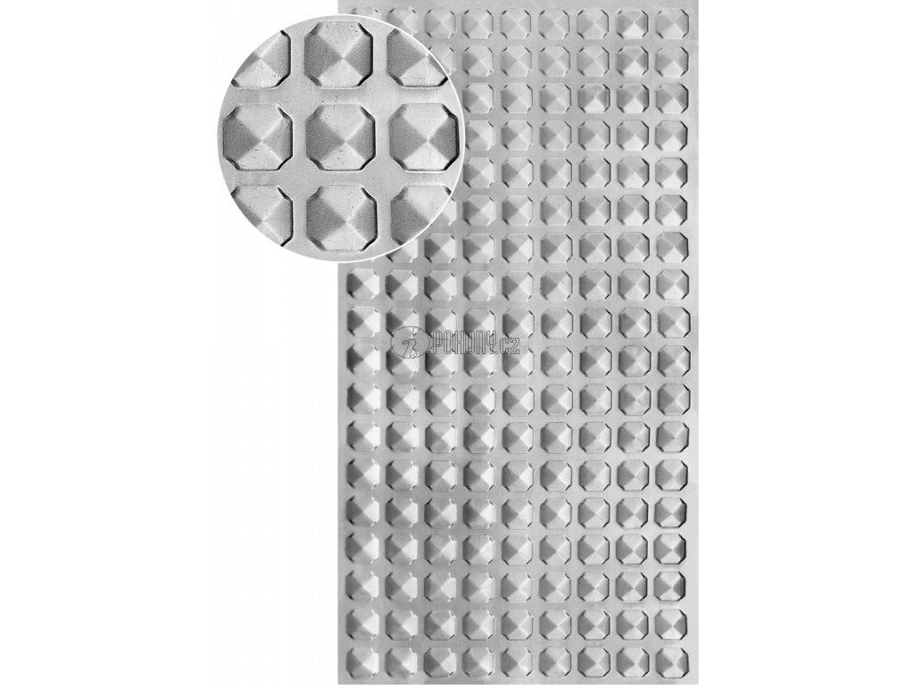 Plech pozinkovaný 2000 x 1000 x 1,2 mm, lisovaný vzor PYRAMIDA 1, 3D efekt. Skutečný rozměr 1990 x 950 x 1,2 mm