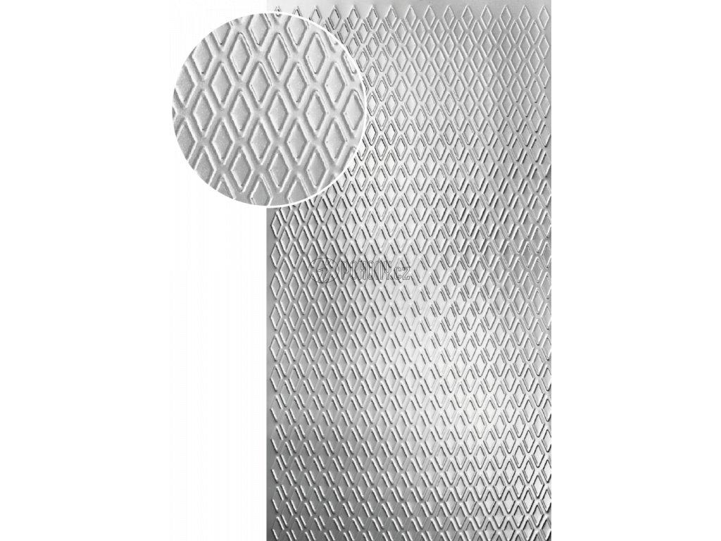 plech pozinkovaný 2000x1000x1,2mm, lisovaný vzor KOSOČTVEREC, 3D efekt. Skutečný rozměr1990x950x1,2mm.