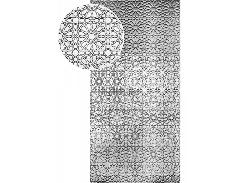 Plech pozinkovaný 2000 x 1000 x 1,2 mm, lisovaný vzor KVĚT 2, 3D efekt. Skutečný rozměr 1990 x 950 x 1,2 mm