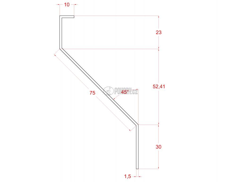 Plotová zinkovaná lamela, Z profil, 23x75x30x1,5 mm s vyztuženou hranou 10 mm, délka 4m