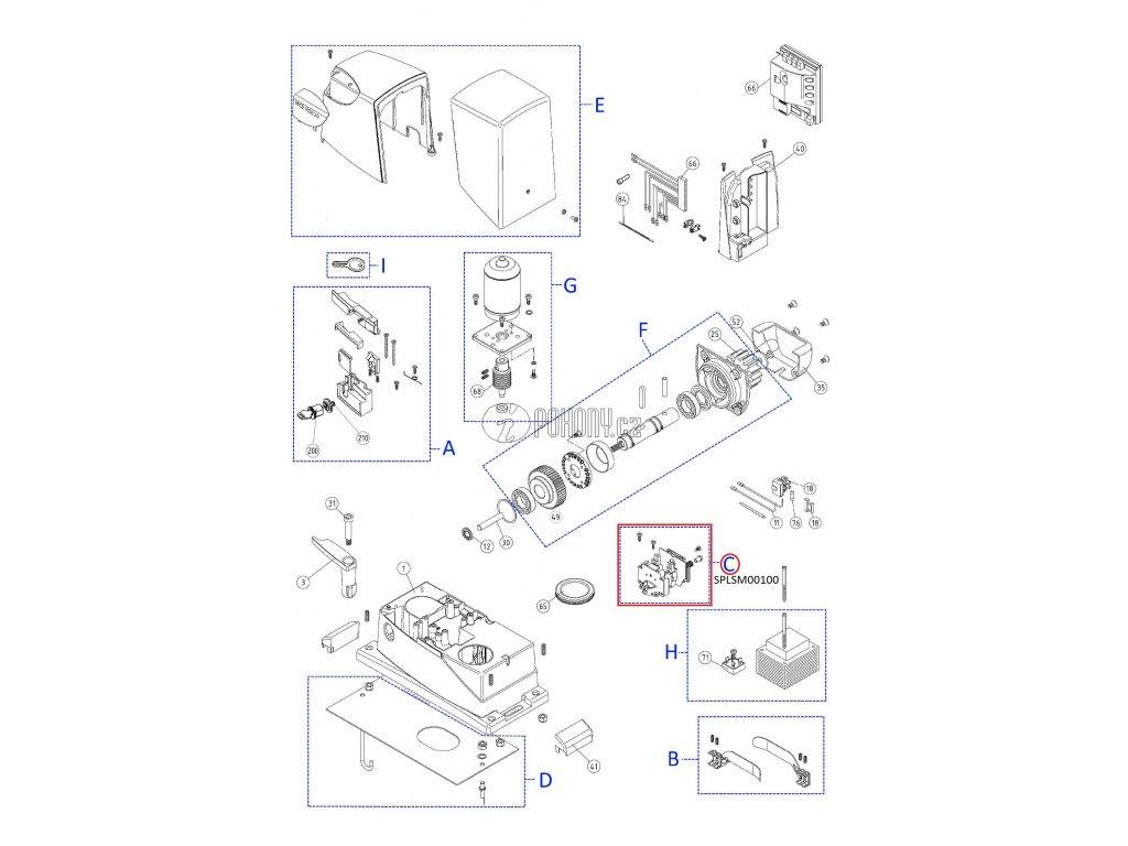 Sada mikrospínačů s držákem pro pohony - SPLSM00100