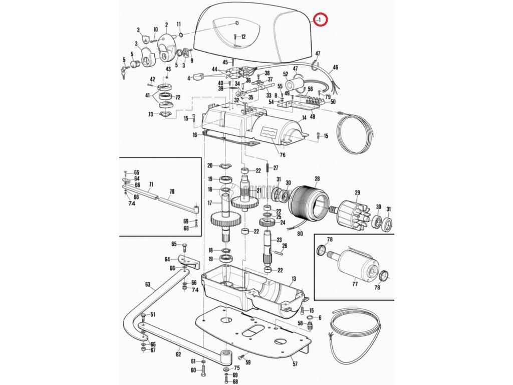 Horní kryt pohonu HYPPO, RAL7016 - PPD1177A.4540